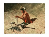 Illustration of Native American Man Starting Fire