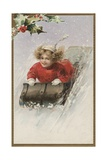 Postcard with Girl Sledding