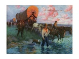 Calendar Illustration of Settlers in Covered Wagons Crossing the Plains