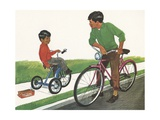 Illustration of Boys Riding Tricycle and Bicycle