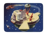 Biekens Pictorial Sticker with Futuristic Space Station
