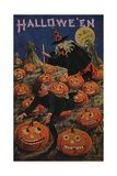 Halloween Postcard of Witch Chasing Boy