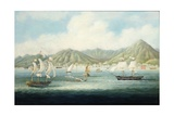 A View of Victoria  Hong Kong with British Ships and Other Vessels