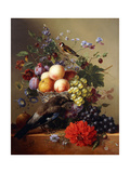 Peaches  Grapes  Plums and Flowers in a Glass Vase with a Jay on a Ledge