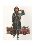 Illustration of Fireman Carrying Hose