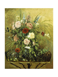 Bouquet of Flowers with a Rustic Wooden Jardiniere