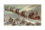 Book Illustration of Reindeer Pulling Santa's Sled