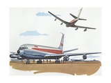 Illustration of Airplanes at Airport