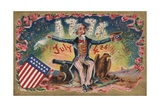 Fourth of July Postcard with Uncle Sam