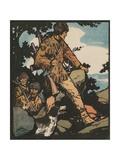 Illustration of Daniel Boone Blazing a Trail