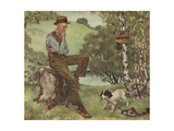 Illustration of Man Looking at Puppy Playing with Shoe