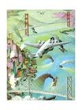 Illustration of Airplane Flying over San Francisco Bay
