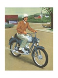 Illustration of Man Riding Motorcycle