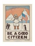 1938 Character Culture Citizenship Guide Poster, Be a Good Citizen Giclée