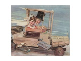 Illustration of Young Couple in a Soap Box Car