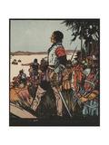 Illustration of Hernando De Soto Discovering the Mississippi River