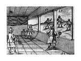 Illustration of Indoor Tennis from Orbis Sensualium Pictus