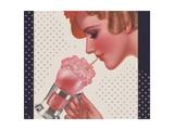 Magazine Illustration of Woman Drinking Ice Cream Soda
