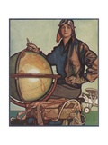 Illustration of Female Aviator and Globe