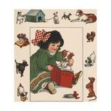 Illustration of Little Girl Reading to Her Dog