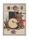 Illustration of a Circus Bear Playing a Drum