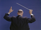 1950s-1970s View of Back of Bald Man Conducting a Symphony Orchestra
