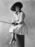 1910s-1920s Woman Wearing Dress with Sailor Style Collar