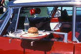 Food Tray on Antique Car Window