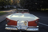 1950s Just Married Sign on Back of Ford Convertible Car