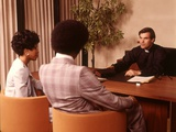 1970s Priest Minister Clergy Man Interviewing Consulting Couple Man Woman
