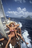 1990s Couple Sitting on Bow of Sailboat Saint Lucia West Indies