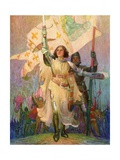 Illustration of Joan of Arc with Raised Sword