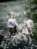 1940s-1950s Boy Girl Picking Daisies in Field of Flowers