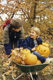 1980s Two Boys with Wheel Barrow and Halloween Pumpkins