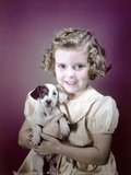 1940s-1950s Girl Holding Spotted Puppy