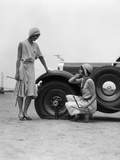 1930s Two Women Confront an Automobile Flat Tire