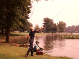 1960s-1970s Boys Fishing Casting into Pond