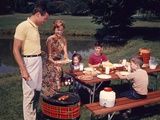 1960s Family Father Mother Two Sons Daughter Enjoying Outdoor Bar-B-Cue