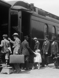 1920s Family Boarding Passenger Train Assisted