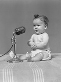 1940s Baby in Diaper with Microphone Studio
