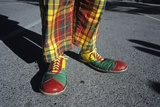2000s Legs of Colorful Circus Clown Oversize Shoes and Plaid Pants
