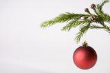 Still Life of Red Bauble Hanging on Christmas Tree Papier Photo