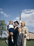 1960s Portrait Family Standing Together in Front of Church Outdoor