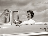 1950s Woman Driving Chevrolet Convertible Automobile