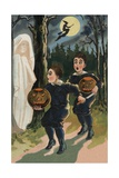 Halloween Postcard of Frightened Children
