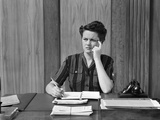 1940s Worried Woman Businesswoman Executive at Desk Thinking