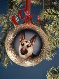 1960s-1970s Picture German Shepherd Dog on Christmas Tree Ornament