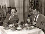 1950s Couple Man Woman Dining in Restaurant