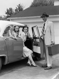 1950s Man Opening Automobile Door for Woman