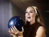 1960s Smiling Laughing Woman Holding Bowling Ball Retro